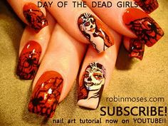DAY OF THE DEAD girl RED AND BLACK nail art design, gothic black and white rose nail art design, simple diagonal green with green stripes nail art design.robin moses nailart for friday Rose Nail Art, Rose Nails, Green Nail Designs, Nail Art Designs, Sugar Skull Nails, Sugar Skulls, Gothic Nail Art, Nail Art For Beginners, Halloween Nail Art