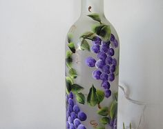 Lighted Wine Bottle Hand Painted Tulip and by RecycleThyme