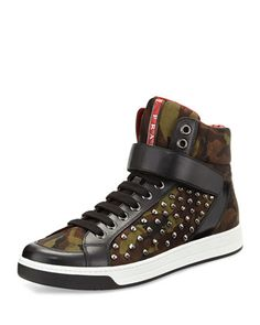 Camouflage High-Top Nylon Sneaker, Green by Prada at Bergdorf Goodman.