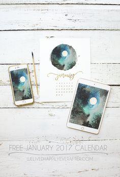 Free January 2017 Calendar - Printable - iPad - iPhone - Desktop