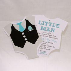 Little Man Tuxedo Onsie Invitations  Black White by LovinglyMine, $20.00