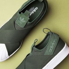 Meet the adidas Originals Womens Superstar Slip On Trainer in Shadow Green.