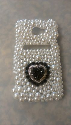 DIY pearls and heart phone case for htc EVO 4g LTE. Bling Bling-bling phone case.