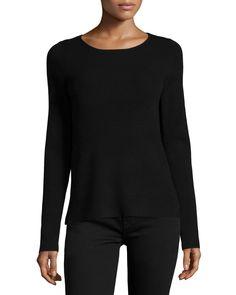 Long-Sleeve Sheer-Back Sweater, Black, Size: X-LARGE - Halston Heritage