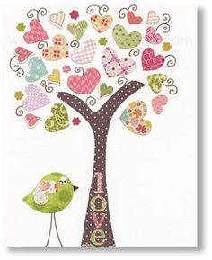 Kids wall art - nursery art prints - baby nursery decor - nursery art - Birds Tree Pink - Tree Of Love print from Paris by GalerieAnais on Etsy, Applique Patterns, Applique Quilts, Applique Designs, Quilt Patterns, Baby Nursery Decor, Nursery Wall Art, Nursery Canvas, Babies Nursery, Elephant Nursery