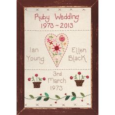 personalised embroidered anniversary picture by country heart   notonthehighstreet.com