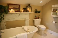 Faux mantel in the bathroom
