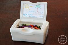 traveling with kids crayon caddy diy, perfect for keeping crayons contained while traveling by car or air!