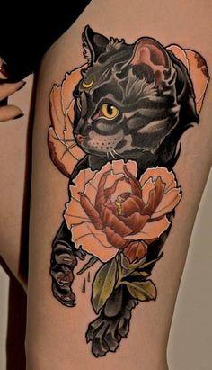 Resultado de imagen para cat and flowers arm tattoo