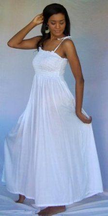WHITE DRESS SMOCKED ELASTIC SPAGETTI FITS - 2X 3X 4X - V111S