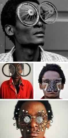 Kenyan self-taught painter and sculptor, Cyrus Kabiru, who primarily uses junk materials to make his works, including striking eyewear. Round Sunglasses, Mirrored Sunglasses, Mens Sunglasses, Eye Glasses, Headgear, Wearable Art, Vogue, Headpiece, Eyewear