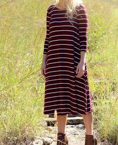 Stripe Midi Dress with Pockets-Burgundy