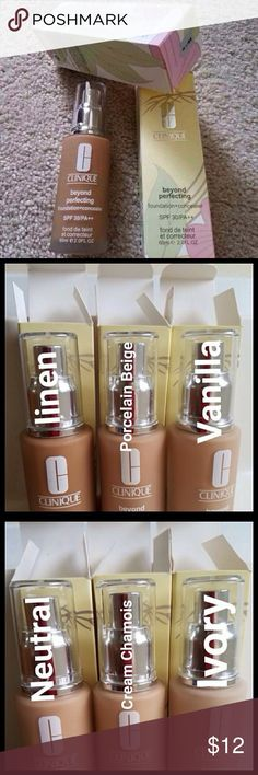 Linen Clinique foundation concealer 2.0.FL Clinique  foundation concealer SPF 30/PA+++ (60 ML:2.0FL.OZ) Make-up Color: 66 (Linen) New never been opened. Ask me if you need other shades Clinique Makeup Foundation