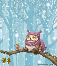 & Owl& First Snow& by Lia Selina Owl Bird, Bird Art, Art Mignon, Whimsical Owl, Owl Pictures, Owl Always Love You, Beautiful Owl, Wise Owl, Cute Illustration