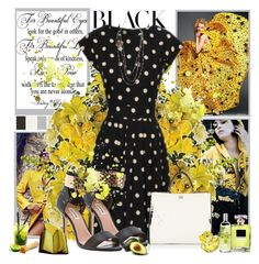 """Yellow and Black Style"" by kginger ❤ liked on Polyvore featuring By Terry, Dune, Dolce&Gabbana, Chanel, The Body Shop and Swarovski"