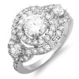 Share 2.50 CT Platinum Plated Ladies White Round Shape CZ Cubic Zirconia Bridal Engagement Ring 6.5 mm center (Available Size 6 ,7, 8) - Dazzling Rock #https://www.pinterest.com/dazzlingrock/