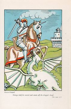 St George slaying the dragon, 1938 illustration