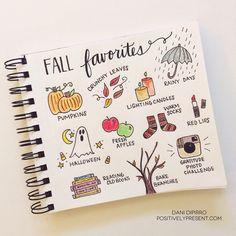 Inspirations automnales pour Bullet Journal: bucket list, dessins, illustrations, stickers, Halloween! Célébrez la saison de l'automne dans votre BuJo !