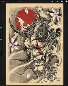 👹 classique des légendes fantastiques du Japon: le masque d'Hannya. #inkaholiks #kennyinkaholiks #tattoo #tatouage #tattoos #tattooed #tattoodesign #illustration #ink #inked #inklife #inkedlife #irezumi #hannyamask #draw #drawing #dessin Oni Mask Tattoo, Samurai Mask Tattoo, Dragon Tattoo Art, Hannya Mask Tattoo, Hanya Tattoo, Japanese Demon Tattoo, Japanese Dragon Tattoos, Japanese Sleeve Tattoos, Japan Tattoo Design