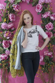 Part Two tee, Paige Hoxton jeans, Sandwich jacket (over shoulder), Figis, Tenterden. Bird print scarf Spice, Cranbrook