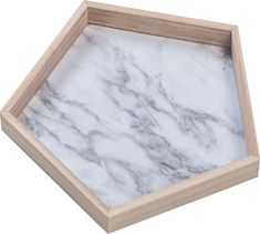 Accents & Figures – Voelkel - Pentagonal Tray is natural wood with a Faux Marble floor.