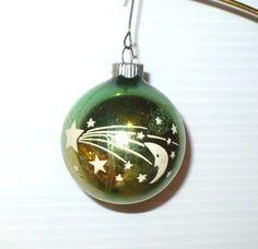 VINTAGE CHRISTMAS SHINY BRITE STENCIL MOON PLANETS STARS GLASS TREE ORNAMENT VGC