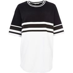 River Island Black and white jumbo stripe t-shirt ($16) ❤ liked on Polyvore featuring tops, t-shirts, shirts, tees, river island, sale, stripe t shirt, white and black striped shirt, crew neck t shirt and black and white striped tee