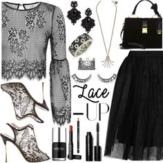 "Black Lace ""Oh My Love"" Crop Top by deborah-calton on Polyvore featuring Topshop, Nicholas Kirkwood, Miu Miu, Lanvin, Tasha, Suzy Levian, Joëlle Jewellery, Bobbi Brown Cosmetics, NARS Cosmetics and Givenchy"