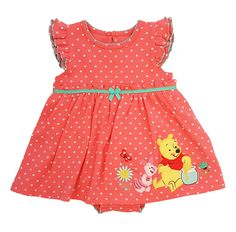 Winnie the Pooh Flutter Sleeve Polka Dot Dress with Attached Creeper
