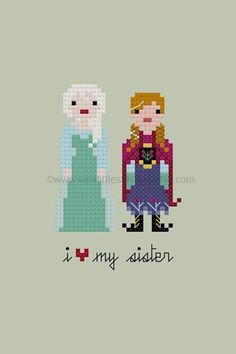 Anna Elsa Cross-stitch (perfect art for sisters' rooms)
