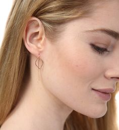 Image of Open Leaf Thread Through Earrings