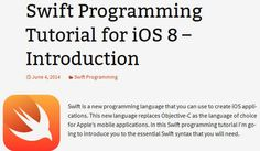 Free Swift Tutorials for Apple's New Programming Language
