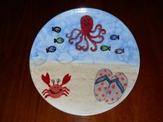 Seaside beach plate made at Paint a Piece Commack NY