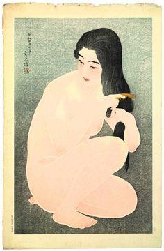 Vintage japanese erotic nudes art prints, Beauty combing her hair Torii Kotondo, FINE ART PRINT, japanese woodblock print reproduction Japanese Illustration, Art Et Illustration, Art Chinois, Art Asiatique, Art Japonais, Japanese Painting, Japanese Prints, Japan Art, Woodblock Print
