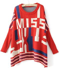 Red Long Sleeve MISS Print Pullovers Sweater