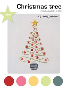 Kelly Fletcher offers a free PDF pattern of this lovely Christmas tree to embroider.