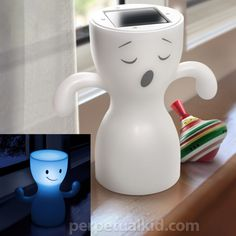 solar powered during the day and flip him over at night to be a night light! no electricity needed!