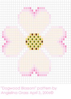 Dogwood Blossom beadwork pattern  *to get the 3-dimensional shape of this piece once finished, i used 2-3 coats of clear nail polish a shaped the petals while the polish was drying.