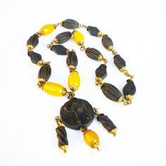 Art Deco Necklace, Egyptian Revival, Butterscotch Bakelite, Black Camel, Rose Petal Beads, Antique Jewelry by zephyrvintage on Etsy