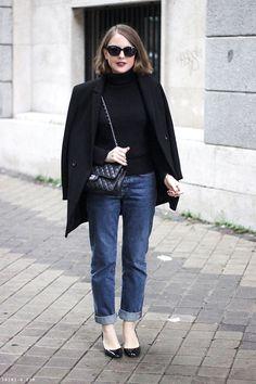 Trini | MiH high waisted boyfriend jeans Petit Bateau turtleneck Chanel classic flap bag Valentino Tango mid heel The Kooples coat