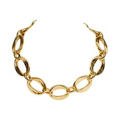 Pre-Owned Chanel '80s Link Choker ($599) ❤ liked on Polyvore featuring jewelry, necklaces, gold, choker necklace, 80s jewelry, pre owned jewelry, choker jewelry and eighties jewelry