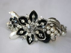 Stunning, Handmade One of a Kind Vintage Black and White Bridal Bracelet, Bridal Cuff