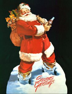 Coca-Cola Santa Claus: Coke Christmas Art by Haddon Sundblom Coca Cola Christmas, Noel Christmas, Father Christmas, Vintage Christmas Cards, Xmas, Christmas Ideas, Christmas Adverts, Christmas Posters, Christmas Clipart