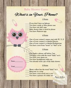 Pink Baby Shower Game Baby Owl Baby Girl by SugarSpiceInvitation