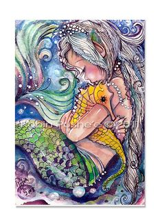 C's bathroom - Sea Horse HugsMermaid art 8x12  PRINT from original by RubysBrush, $9.00
