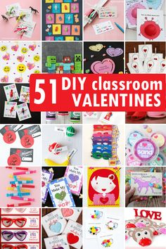 DIY Valentine's Day classroom cards for kids' school parties. DIY Valentine's Day classroom cards for kids' school parties.,Valentines Ultimate roundup of 51 DIY Valentine's Day classroom cards to make for kids' school Valentine's parties. Kinder Valentines, Valentine Gifts For Kids, Diy Valentines Cards, Valentines Day Activities, Valentine Crafts, Valentine Ideas, Valentines Notes, Classroom Valentine Cards, Printable Valentine