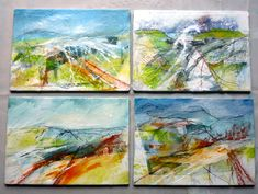 4 mixed media sketches on board from the Shropshire sketchbook. By Marie Allen