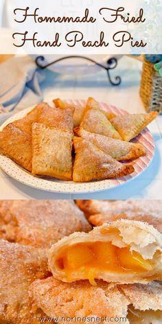 Fried Peach Pies, Fried Hand Pies, Mini Peach Pies, Fresh Peach Recipes, Apple Recipes Easy, Fruit Recipes, Cooking Recipes, Empanadas, Homemade Pie