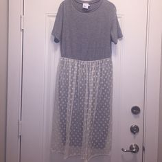 T-Shirt Dress with Lace Skirt Gray fitted t-shirt dress layered with cream colored polka dot lace skirt over skirt part of dress. Worn once. ASOS Dresses