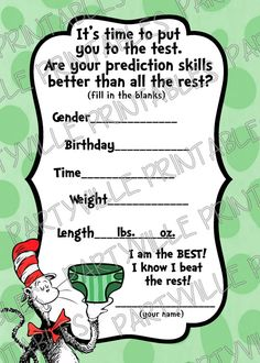 Seuss Baby Prediction game Gender prediction card Cat in the hat Bring a… Dr Suess Baby, Dr Seuss Baby Shower, Baby Shower Games, Baby Shower Parties, Baby Boy Shower, Gender Party, Baby Gender, Twin Gender Reveal, Gender Announcements